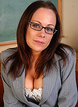leggy milf teacher undressing in the classroom