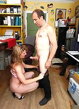 Granny secretary wanna suck her colleagues dick deep inside