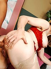 horny blonde milf gets her ass fucked by a huge cock